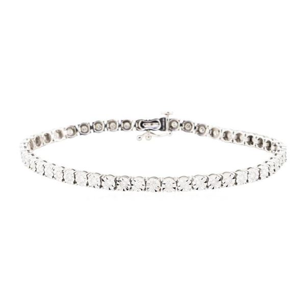 1.00 ctw Diamond Tennis Bracelet - 10KT White Gold