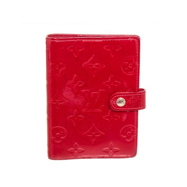 Louis Vuitton Red Vernis Leather Agenda PM Wallet
