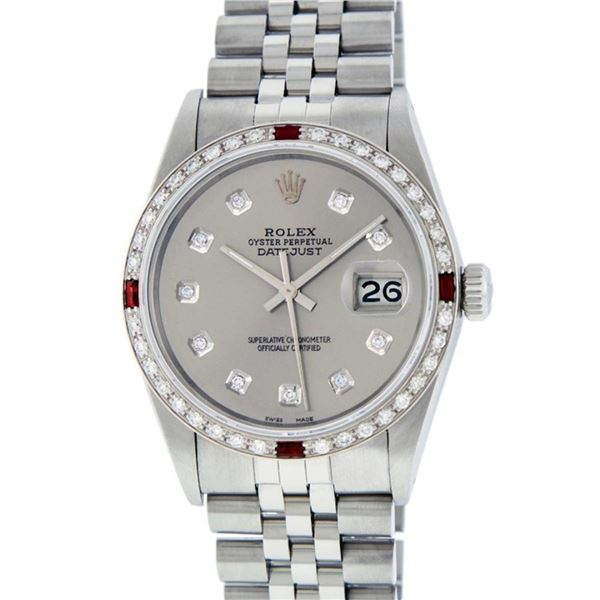 Rolex Mens Stainless Steel Gray Diamond & Ruby Oyster Perpetual Datejust Wristwa