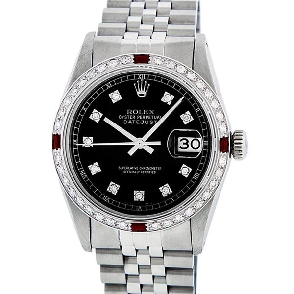 Rolex Mens Datejust 36 Black Diamond & Ruby Oyster Perpetual Datejust Wristwatch