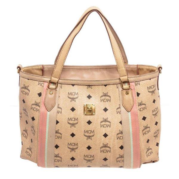 MCM Beige Shopper Tote Bag