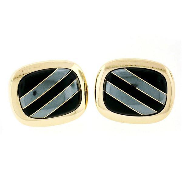 Vintage 14kt Yellow Gold Swivel Cuff Links w/ Hematite Inlaid in Black Onyx