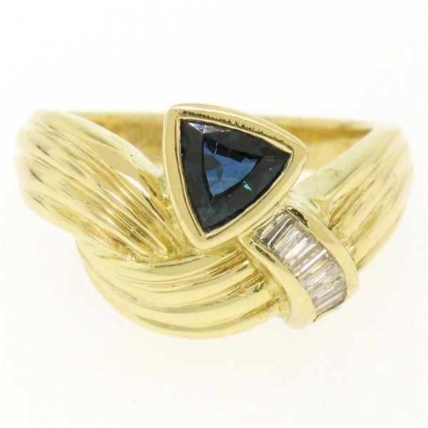 18kt Yellow Gold 1.04 ctw Trillion Sapphire & Baguette Diamond Ribbed Cocktail R