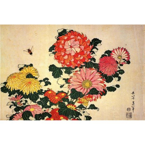Hokusai - Chrysanthemum and Bee