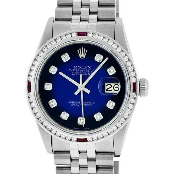Rolex Mens SS Blue Vignette Diamond & Ruby Channel Set Diamond Datejust Wristwat