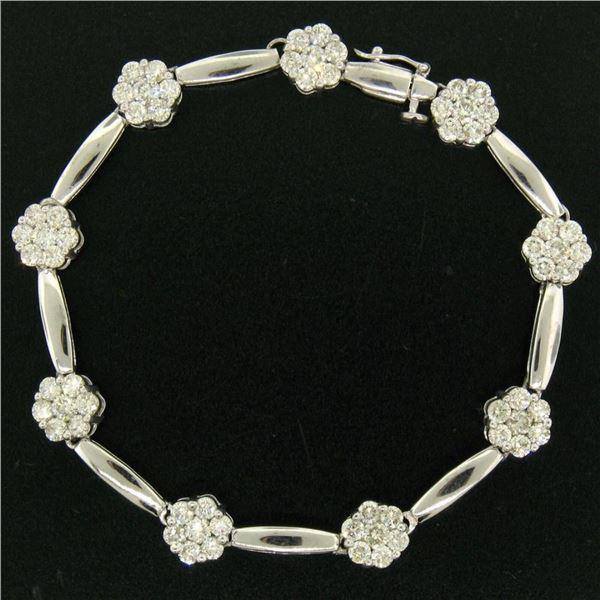 "14K White Gold 7"" 4.65 ctw Round Diamond Flower Cluster Bar Link Tennis Bracelet"