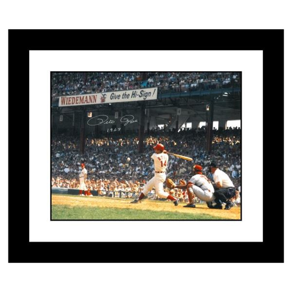 """""""Rose Hitting in Crosley Field"""" Framed Archival Photograph Featuring Pete Rose T"""