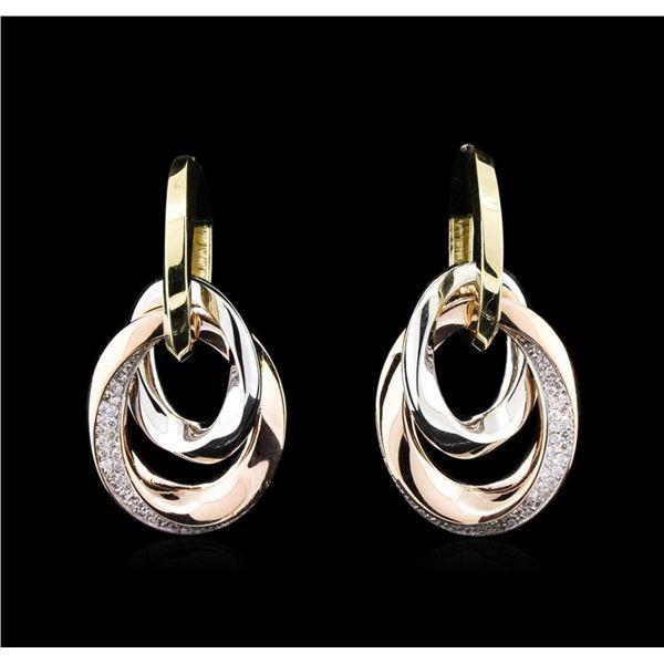 0.58 ctw Diamond Earrings - 14KT Tri-Color Gold