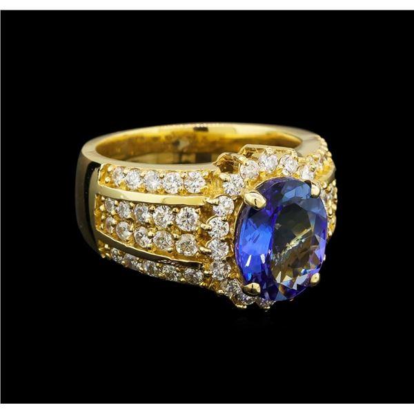 14KT Yellow Gold 3.29 ctw Tanzanite and Diamond Ring