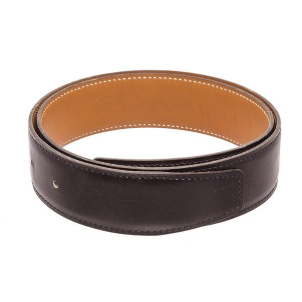 Hermes Black Brown Reversable No Buckle Strap 65 Belt