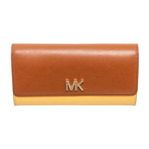 Michael Kors Brown  Yellow Montgomery Flap Wallet