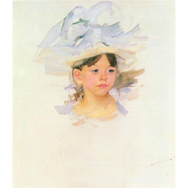 Mary Cassatt - Ellen Mary Cassat With Large Blue Hat