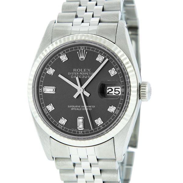 Rolex Mens Stainless Rhodium Diamond 36MM Oyster Perpetual Datejust Wristwatch