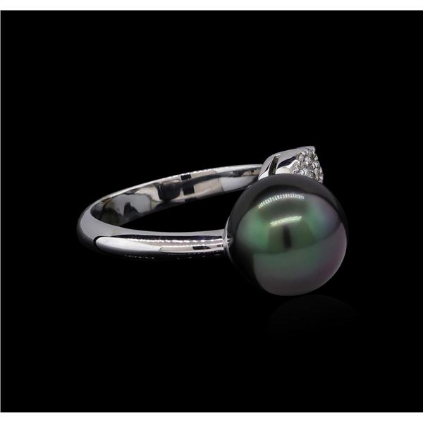 0.37 ctw Pearl and Diamond Ring - 14KT White Gold
