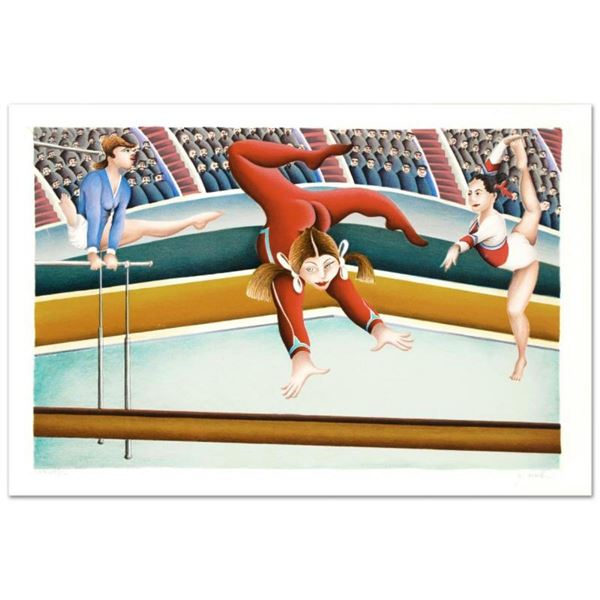 """""""Gymnast"""" Limited Edition Lithograph By Yuval Mahler, Numbered and Hand Signed w"""