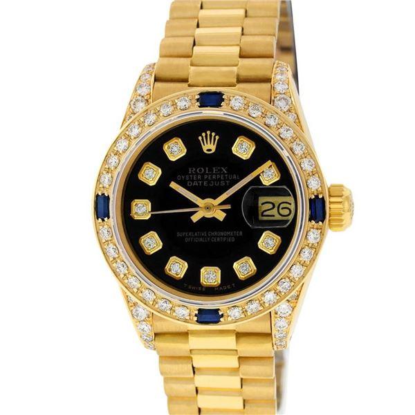 Rolex Ladies 18K Yellow Gold Black Diamond And Sapphire President Wristwatch Wit