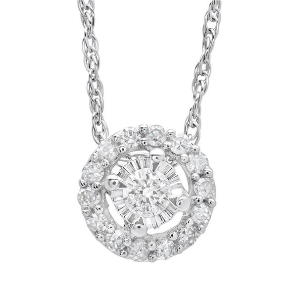 14K White Gold 0.10 ctw Diamond Pendant Necklace, (SI3/SI3/H-I)