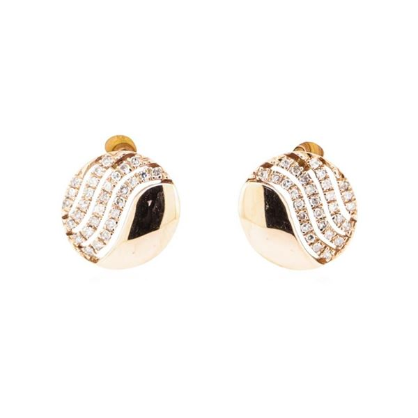 0.14 ctw Diamond Rounded Disc Earrings - 14KT Rose Gold