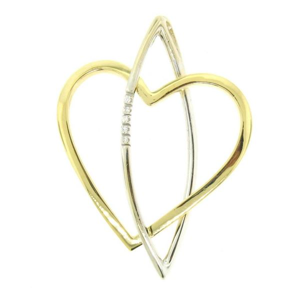 18kt Yellow and White Gold 0.05 ctw Round Diamond Open Heart and Marquise Pendan