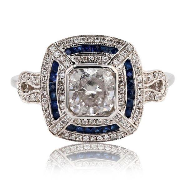 1.22 ctw Diamond and 0.36 ctw Blue Sapphire 18K White Gold Ring