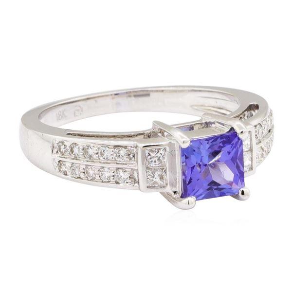 1.45 ctw Princess Brilliant Tanzanite And Princess Cut Diamond Ring - 18KT White