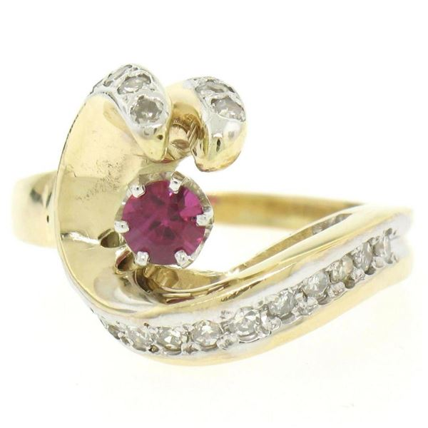 14k Yellow Gold .30 ctw Round Blood Red Ruby Claw Cocktail Ring w/ Diamond Accen
