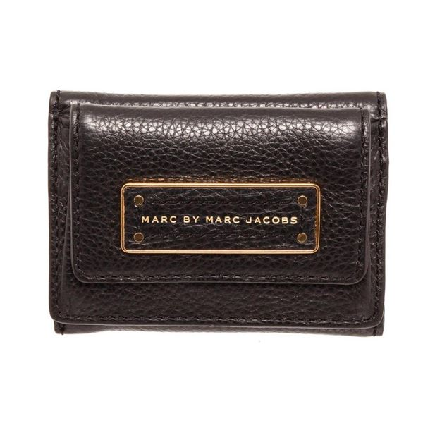 Marc By Marc Jacobs Black Leather Mini Compact Flap Wallet