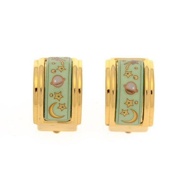 Hermes Gold Enamel Clip-on Earrings