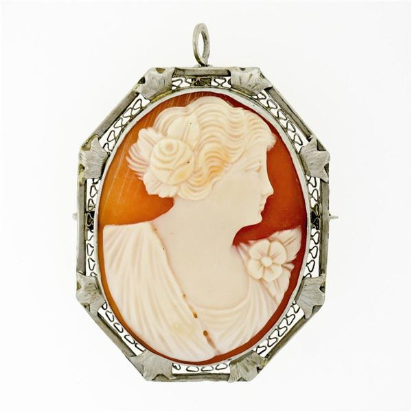 Antique Art Deco 14K White Gold Carved Shell Cameo Open Filigree Brooch Pendant