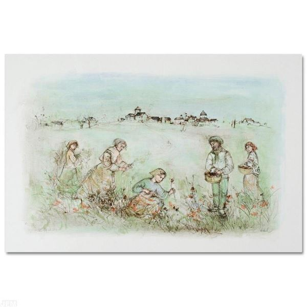 """""""Tuscan Fields"""" Limited Edition Lithograph by Edna Hibel, Numbered and Hand Sign"""