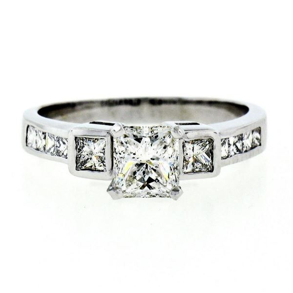 Estate 18kt White Gold 1.42 ctw GIA Certified Radiant Diamond Engagement Ring