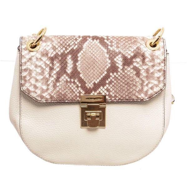 Michael Kors White Brown Cecelia Saddle Cross Body Bag
