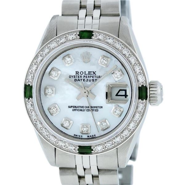 Rolex Ladies Stainless Steel Mother Of Pearl Diamond Emerald 26MM Datejust Wrist