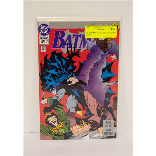 DC BATMAN 492 PLATINUM EDITION COMIC