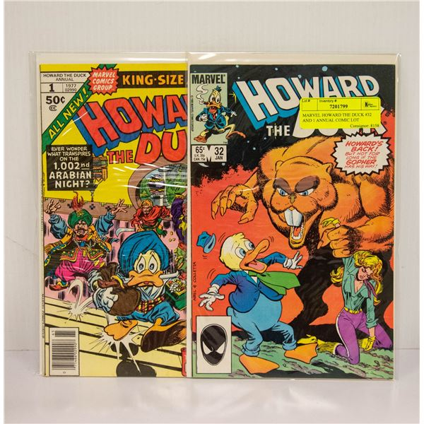 MARVEL HOWARD THE DUCK #32 AND 1 ANNUAL COMIC LOT