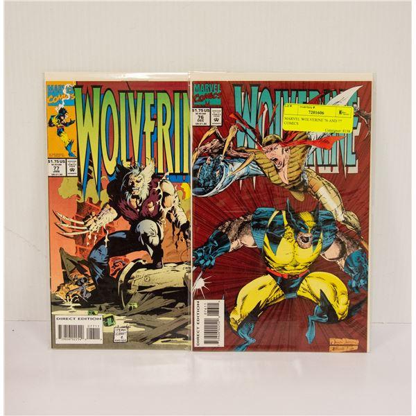 MARVEL WOLVERINE 76 AND 77 COMICS