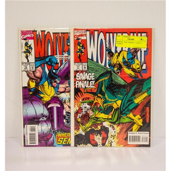 MARVEL WOLVERINE 71 AND 72 COMICS