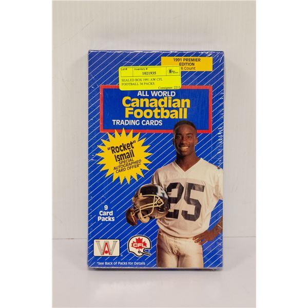 SEALED BOX 1991 AW CFL FOOTBALL 36 PACKS