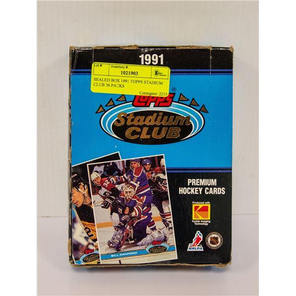 SEALED BOX 1991 TOPPS STADIUM CLUB 36 PACKS
