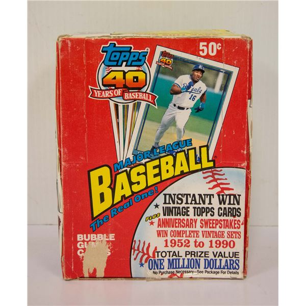 SEALED BOX 1991 TOPPS BASEBALL 36 PACKS