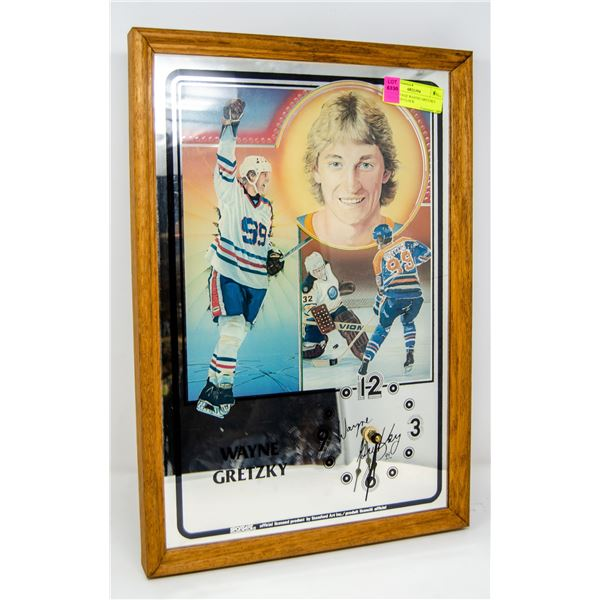 1980 VINTAGE WAYNE GRETZKY MIRRORED CLOCK