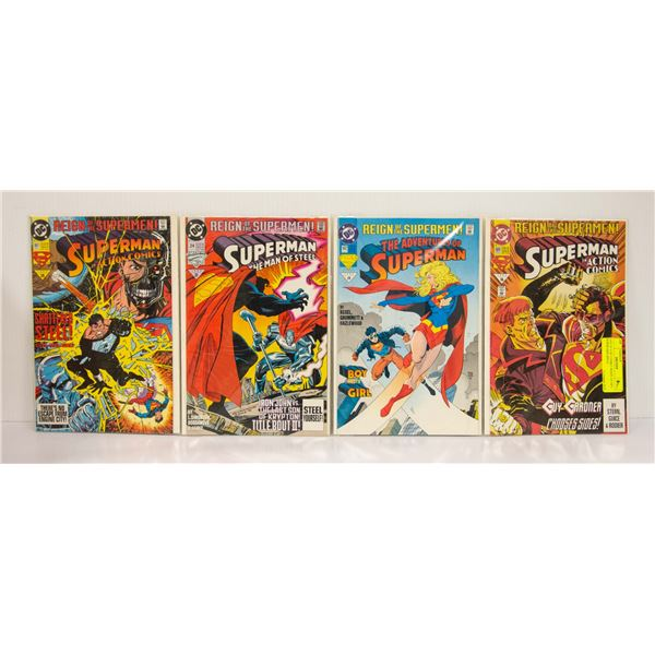 LOT OF 4 DC COMICS REIGN OF THE SUPER MEN ISSUE
