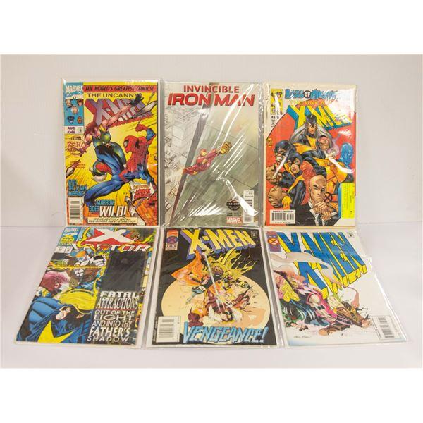 LOT OF 6 ASSORTED MARVEL COMICS X-MEN, IRON MAN