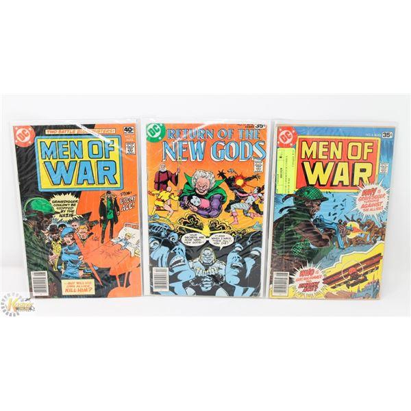LOT OF 3 ASSORTED DC COMICS MEN OF WAR