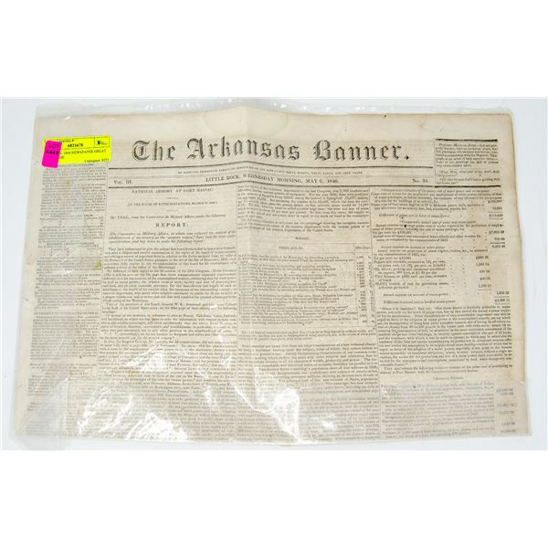 ORIGINAL 1846 NEWSPAPER GREAT SHAPE THE