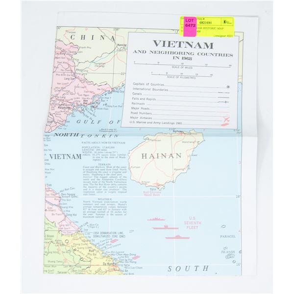 VIETNAM WAR HISTORIC MAP VINTAGE 1968