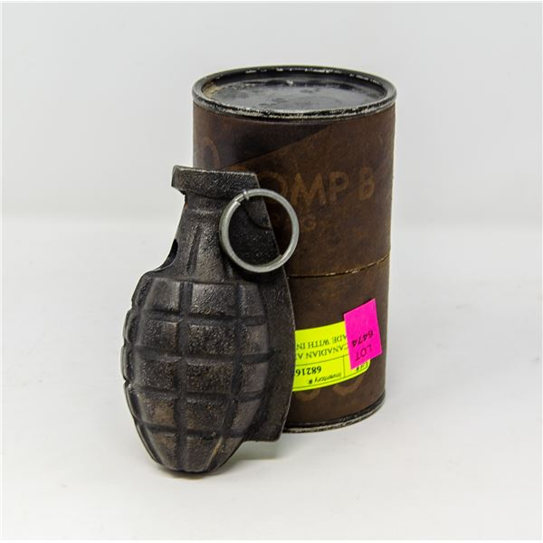 WW2 CANADIAN ARMY PRACTICE GRENADE WITH INTACT