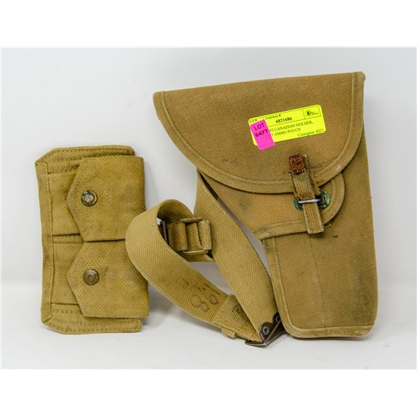 RARE WW2 CANADIAN HOLDER, BELT AND AMMO POUCH