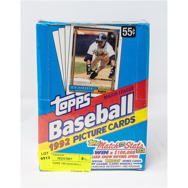 BOX OF TOPPS 1992 BASEBALL CARDS