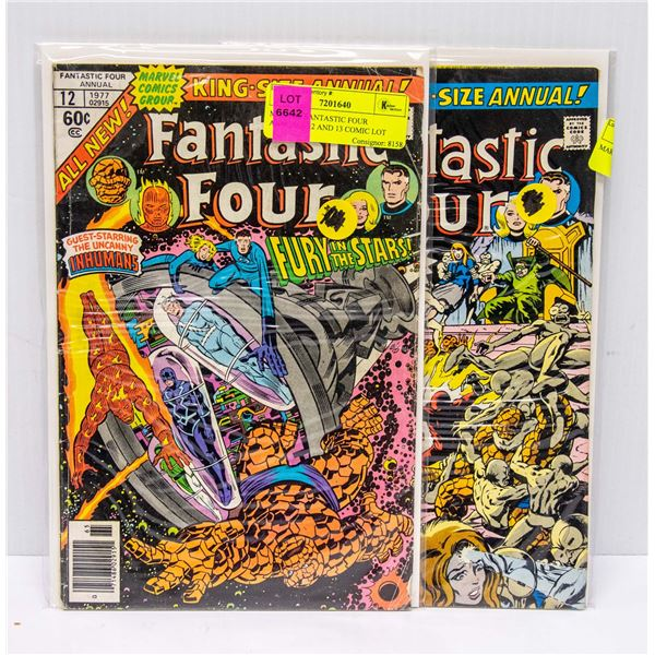 MARVEL FANTASTIC FOUR ANNUALS 12 AND 13 COMIC LOT